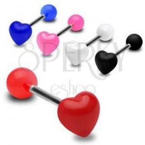 Kolorowy kolczyk do języka, lśniące symetryczne serce obraz