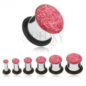 Stalowy tunel plug do ucha, różowy brokat obraz