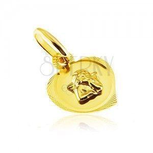 Wisiorek ze złota 14K - grawerowany zarys serca z wystającym aniołkiem obraz