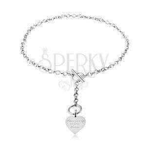 Naszyjnik ze srebra 925, łańcuszek i symetryczne serce z napisem obraz