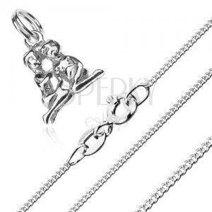 Naszyjnik - siedząca para i łańcuszek z drobnych ogniw, srebro 925 obraz