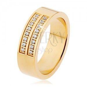 Stalowy pierścionek złotego koloru, podwójny pas przezroczystych cyrkonii obraz