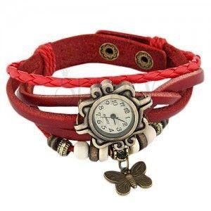 Zegarek na rękę, ozdobnie wycinany, czerwony pleciony pasek, koraliki obraz