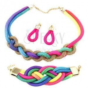 Zestaw kolczyków, bransoletki i naszyjnika, przeplatane kolorowe sznurki, łańcuszek obraz