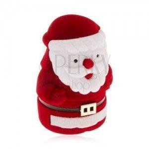 Aksamitne pudełeczko na pierścionek, czerwono-biała postać Mikołaja obraz