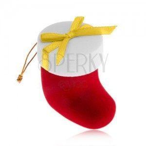 Aksamitne pudełeczko na biżuterię, czerwony bucik z białą pokrywką, kokardka obraz