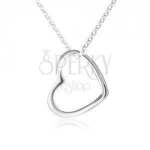 Naszyjnik - kontury symetrycznego serca, lśniący łańcuszek, srebro 925 obraz