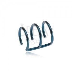 Stalowy fake kolczyk do ucha w niebieskim kolorze - trzy kółka obraz