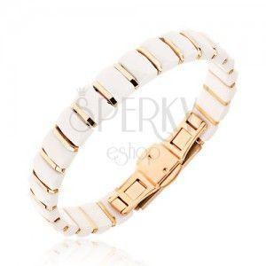 Biała bransoletka z prostokątnych ceramicznych ogniw, paski złotego koloru obraz