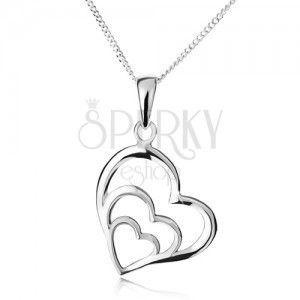 Naszyjnik - łańcuszek i trzy asymetryczne zarysy serc, srebro 925 obraz
