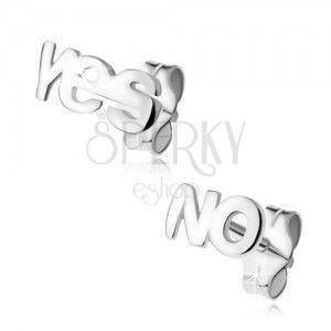 Kolczyki ze srebra 925, napis YES i NO obraz