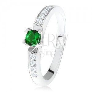 Srebrny pierścionek zaręczynowy 925, okrągły zielony kamyczek, linie przeźroczystych cyrkonii obraz