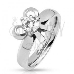 Stalowy pierścionek z kokardką i okrągłym kamyczkiem obraz