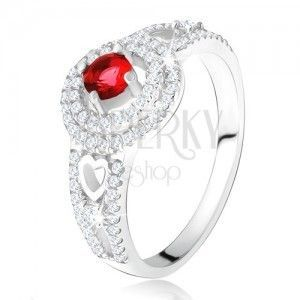 Pierścionek - czerwony kamyczek z podwójną cyrkoniową obwódką, serca, ze srebra 925 obraz
