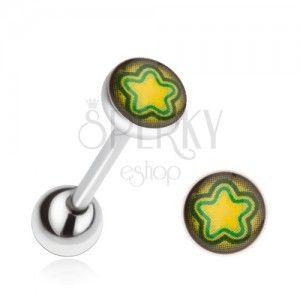 Kolczyk do języka ze stali, żółto-zielona gwiazda obraz