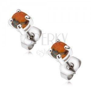 Stalowe kolczyki wkręty z okrągłym pomarańczowym opalem obraz