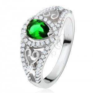 Pierścionek ze srebra 925, zielony kamień łezka, przezroczyste cyrkonie, zarysy serc obraz