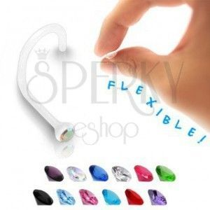 Kolczyk do nosa - przezroczysty BioFlex z kolorową cyrkonią obraz