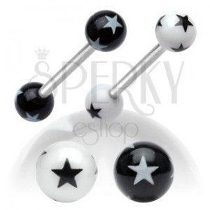 Stalowy kolczyk do języka, czarno-białe akrylowe kuleczki z gwiazdkami obraz