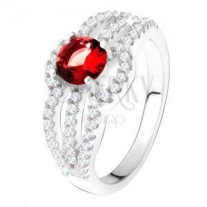 Pierścionek ze srebra 925, czerwony kamień, okrągłe cyrkoniowe pasy obraz