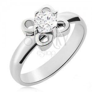 Stalowy pierścionek srebrnego koloru, kwiatek z przezroczystą cyrkonią obraz
