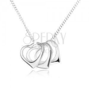Naszyjnik - łańcuszek i zarysy trzech serc, srebro 925 obraz