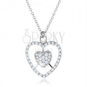 Srebrny naszyjnik 925, serce i zarys serca z przezroczystymi cyrkoniami obraz