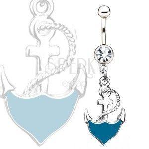 Stalowy kolczyk do pępka - niebieska kotwica z liną, przezroczysty kamyczek obraz