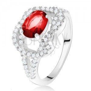 Srebrny pierścionek 925, owalny rubinowy kamień, cyrkoniowy węzeł obraz