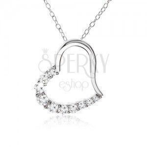 Łańcuszek, zarys serca z cyrkoniową połówką - naszyjnik, srebro 925 obraz