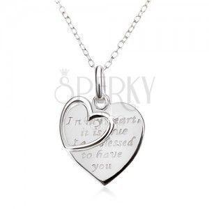 Naszyjnik - łańcuszek, serce z napisem, zarys serca, srebro 925 obraz