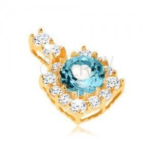 Wisiorek z żółtego złota 9K - kwadratowy cyrkoniowy zarys, okrągły niebieski topaz obraz