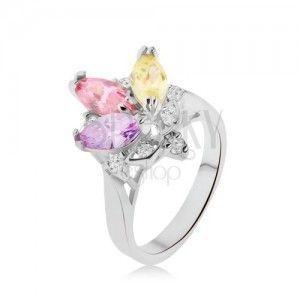 Błyszczący pierścionek- kolorowe kamyczki w oprawce, przeźroczyste cyrkonie, korona obraz
