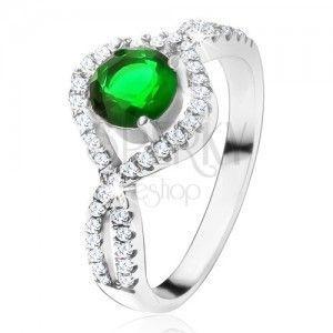 Srebrny pierścionek 925, okrągły zielony kamień, podkręcone cyrkoniowe ramiona obraz