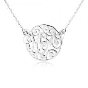 Naszyjnik ze srebra 925 - łańcuszek i kółeczko z wycięciami, Mom obraz