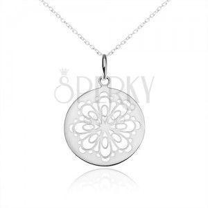 Srebrny naszyjnik 925, okrągły wisiorek, wycinany zdobiony kwiat obraz