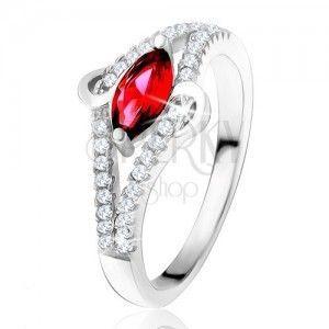 """Pierścionek ze srebra 925, rubinowy kamień w kształcie ziarenka, pas """"S"""", przezroczyste kamyczki obraz"""
