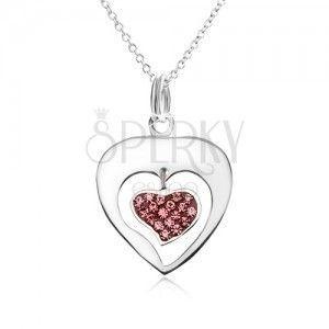 Naszyjnik - łańcuszek, kontur serca, serce, różowe cyrkonie, srebro 925 obraz
