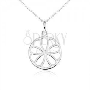 Srebrny naszyjnik 925, okrągły wisiorek - ozdobnie wycinany kwiat obraz