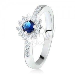 Srebrny pierścionek 925 z ciemnoniebieskim kamyczkiem obraz
