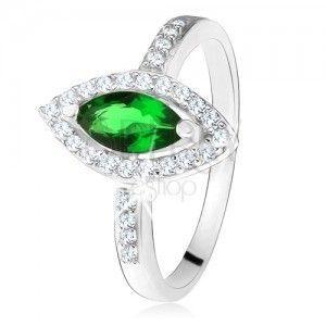 Lśniący pierścionek - srebro 925, zielony kamień ziarenko z obwódką, przezroczyste cyrkonie obraz