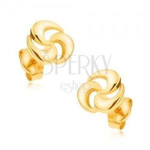 Złote kolczyki wkręty 375 - błyszcząca trzyczęściowa spirala obraz