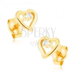 Kolczyki z żółtego 9K złota - kontur nieregularnego serca, cyrkonik obraz
