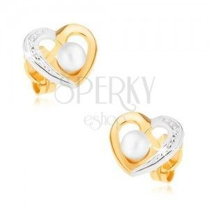 Złote rodowane kolczyki 375- dwukolorowy kontur serca, biała perełka obraz