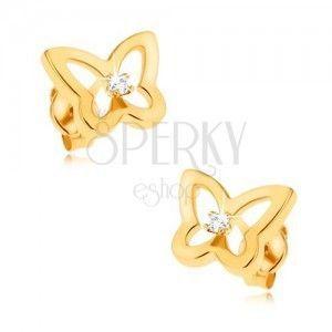 Kolczyki z żółtego 9K złota - błyszczący kontur motyla, cyrkonia pośrodku obraz