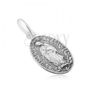 Matowy owalny medalik z Maryją Panną, ze srebra 925 obraz
