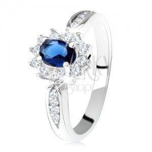 Pierścionek zaręczynowy ze srebra 925, ciemnoniebieska owalna cyrkonia, przeźroczysta lamówka obraz