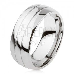 Tungstenowy gładki pierścionek, delikatnie wypukły, błyszcząca powierzchnia, dwa nacięcia obraz