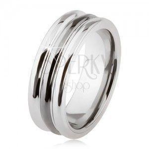Wolframowy pierścionek o lśniącej powierzchni, dwa nacięcia, czarny i srebrny kolor obraz