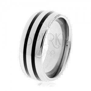 Wolframowy gładki pierścionek, lekko wypukły, lśniąca powierzchnia, dwa czarne paski obraz